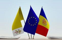 梵蒂冈欧盟和安道尔的旗子 库存图片