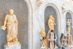 梵蒂冈,梵蒂冈09日2017年:在梵蒂冈博物馆里面, 免版税库存图片