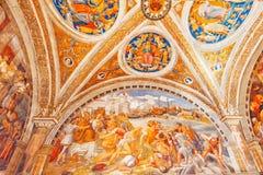 梵蒂冈,梵蒂冈09日2017年:在梵蒂冈博物馆里面, 免版税库存照片
