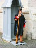 梵蒂冈,罗马,意大利- 2014年5月02日:站立与一把戟的瑞士近卫队大约 库存照片