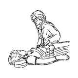 检查一名女性患者的女性医生 医疗概念- vecto 库存照片
