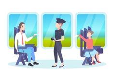 检查乘客的票审查员妇女坐在火车隔间票检验概念铁路运输 库存例证