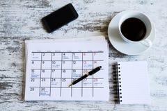 检查在日历的月度活动 免版税库存照片