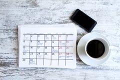 检查在日历的月度活动 图库摄影