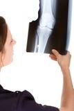 检查女性光芒的白种人医生x 免版税库存图片