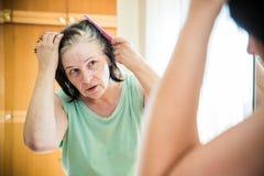检查她的灰色头发根的资深妇女 库存照片