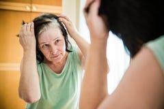 检查她的灰色头发根的资深妇女 图库摄影