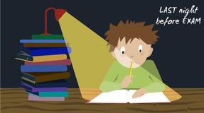 检查学生重音 前测试准备夜 免版税库存照片