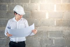 检查建筑图画的工程师或建筑师 库存照片