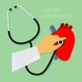 检查您的心脏科医师与听诊器。 皇族释放例证