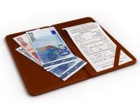 检查文件夹与欧元和检查 免版税库存照片
