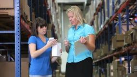检查物品的经理和工作者在仓库里 股票录像
