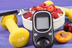 检查的糖水平、燕麦粥与果子和哑铃,糖尿病和健康生活方式Glucometer 库存图片
