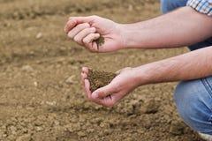 检查肥沃农业农场土地的土壤质量的农夫 免版税库存图片