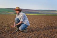 检查肥沃农业农场土地的土壤质量的农夫 免版税库存照片