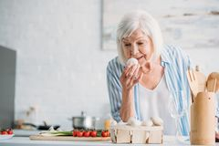 检查蘑菇的灰色头发夫人画象,当烹调晚餐在柜台时 免版税库存图片