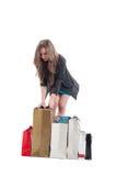 检查购物袋的可爱的女性顾客 免版税库存照片