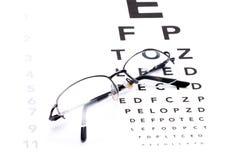 检眼计、眼睛测试和玻璃 库存照片