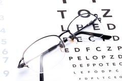检眼计、眼睛测试和玻璃 库存图片