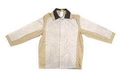 棉花人的夹克白色和灰棕色 免版税库存图片