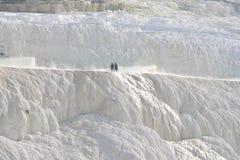 棉花堡自然温泉石灰华在代尼兹利市 免版税库存图片