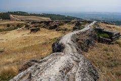 从棉花堡,土耳其的风景 库存图片