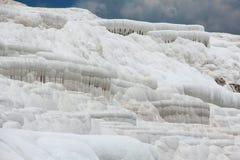 棉花堡-棉花城堡,代尼兹利省在西南土耳其 区域为流动的一种白色碳酸盐矿物是著名的 免版税库存图片
