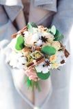 棉花婚礼花束 免版税图库摄影