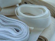 棉花缝合的斜纹布磁带 库存照片
