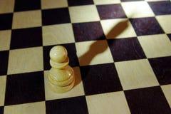 棋典当投下象国王的阴影 有野心和梦想 免版税图库摄影