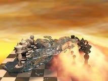 棋和元素3d 免版税库存照片
