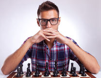 棋对手调查您的眼睛 库存图片