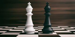棋枰的白和黑人棋国王 3d例证 库存例证