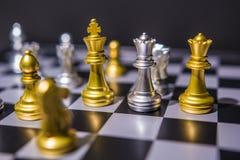 棋盘企业想法的比赛概念和竞争和战略计划 库存照片