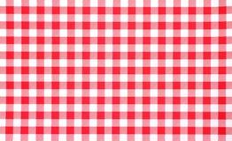 棋盘接近的红色桌布视图 库存图片