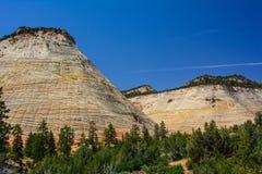 棋盘Mesa在宰恩国家公园,犹他 库存图片