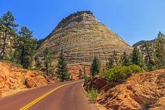 棋盘Mesa,锡安国家公园,犹他 免版税库存图片