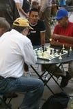 棋集中他们比赛的球员 免版税库存图片