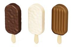 棍子在白色背景隔绝的冰淇凌 3d例证 免版税库存照片