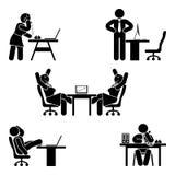 棍子形象被设置的办公室姿势 企业财务工作场所支持 工作,坐,谈话,见面,训练传染媒介 向量例证