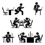 棍子形象被设置的办公室姿势 企业财务工作场所支持 工作,坐,谈话,见面,谈论图表 向量例证