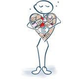 棍子形象被连接的心脏 库存照片