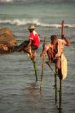 棍子渔夫在Unawatuna,斯里兰卡 图库摄影