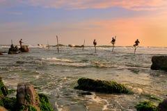 棍子渔夫在Unawatuna,斯里兰卡 库存图片