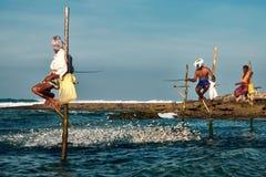棍子的斯里兰卡的传统渔夫在印度洋 免版税库存图片