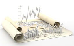 棒企业图解表财务图象 库存照片