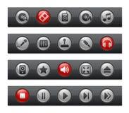 棒按钮招待媒体系列 库存图片