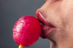 棒棒糖亲吻 库存照片
