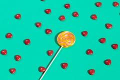 棒棒糖和甜点孩子的 爱吃甜品的胃口的款待 库存例证