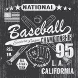 棒球体育印刷术,东部同盟洛杉矶,横渡的棒球batsand手套T恤杉打印设计图表剪影, 库存例证